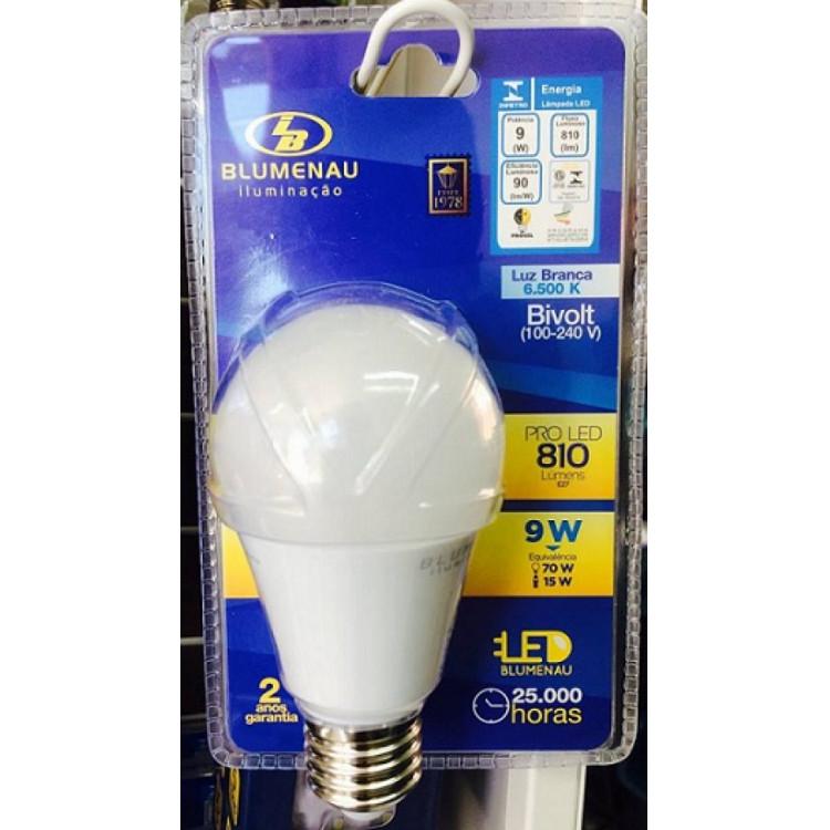 Lâmpada Led 9W Luz Branca 6500k bivolt 810lm bulbo A60 - Blumenau Iluminação