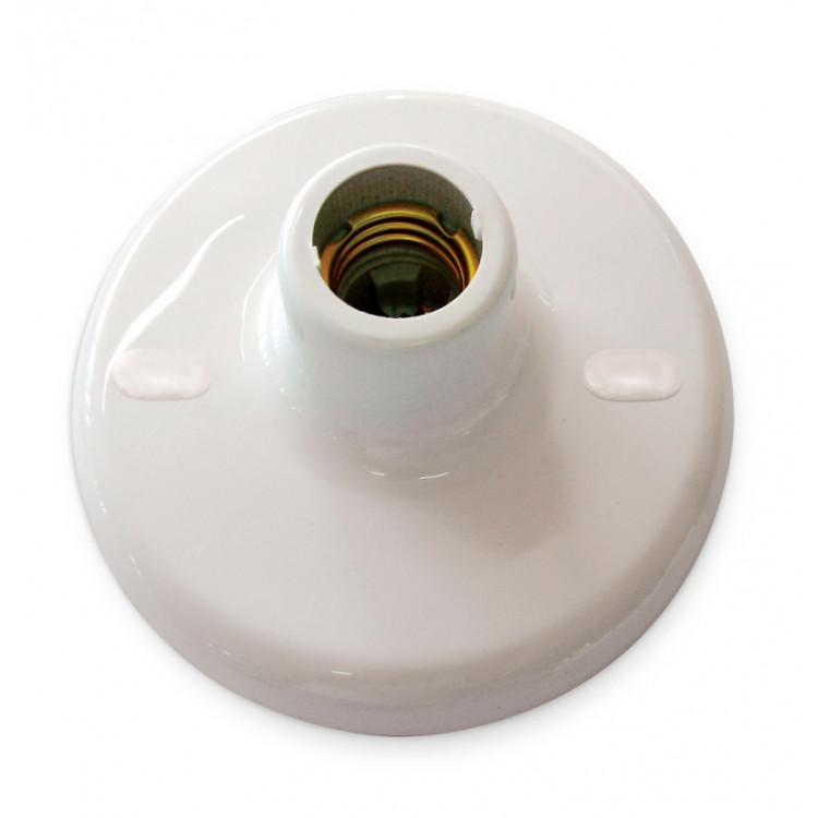 Plafon Plástico Redondo Branco com soquete E27 Porcelana - Blumenau Iluminação