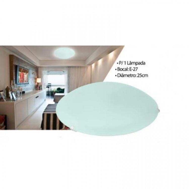 Plafon Redondo 25cm 01 lâmpada Acrílico Cristal - Branco
